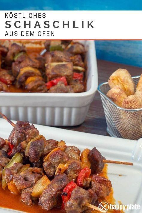 Schaschlik aus dem Ofen mit Sauce | happy plate