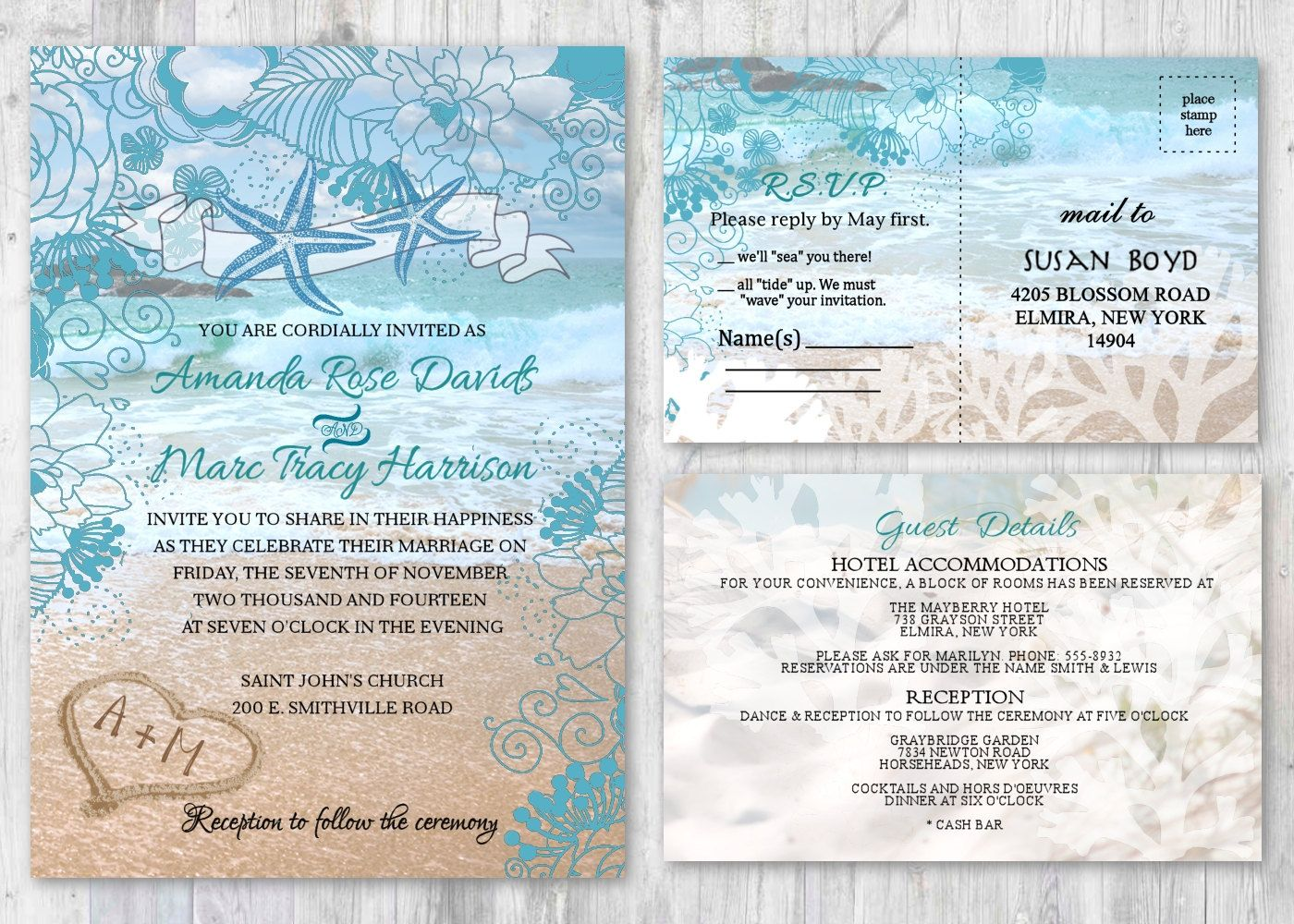 beach wedding invitations starfish wedding invitation beach theme