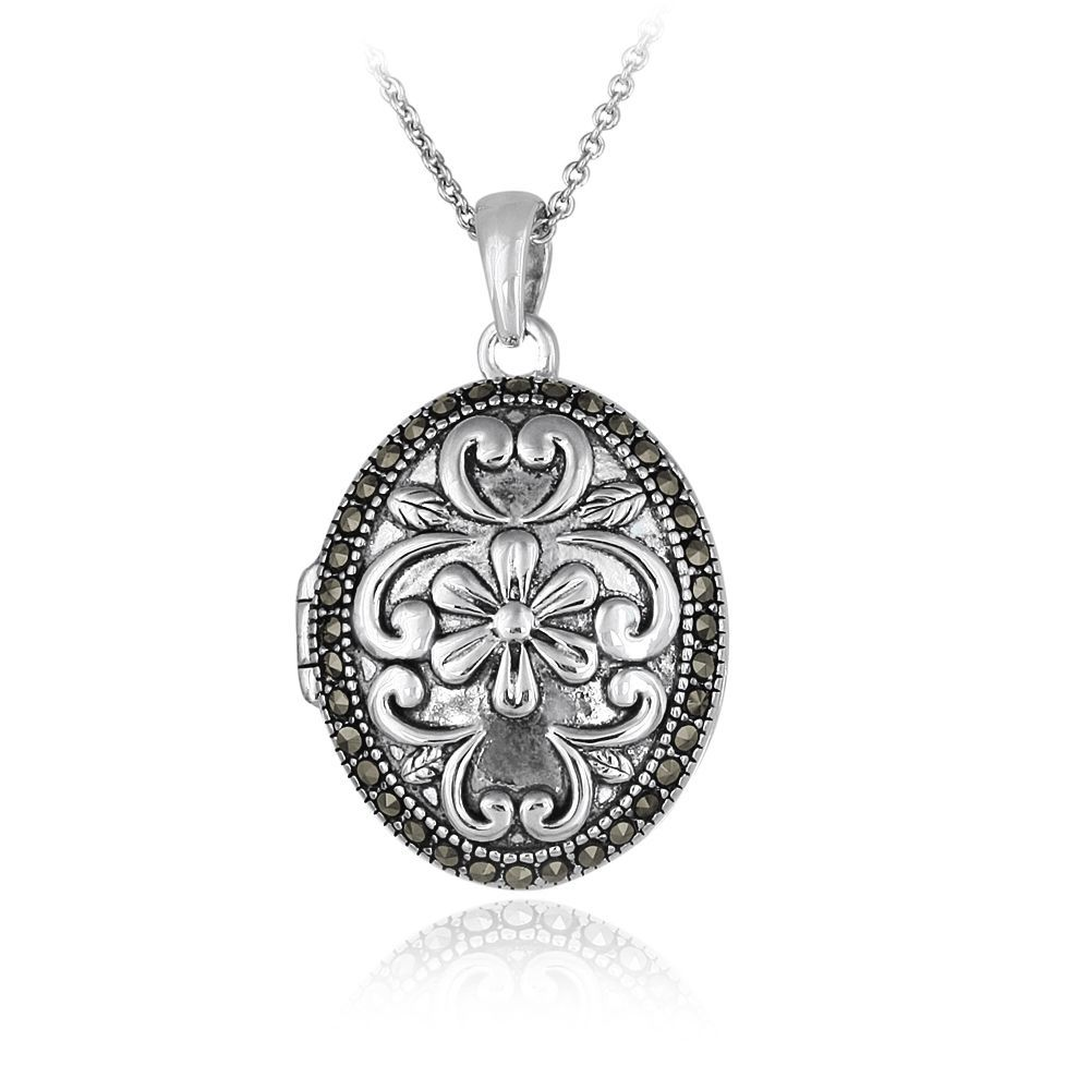 Fine Jewelry Sterling Silver Floral Frame Locket tHefzimb