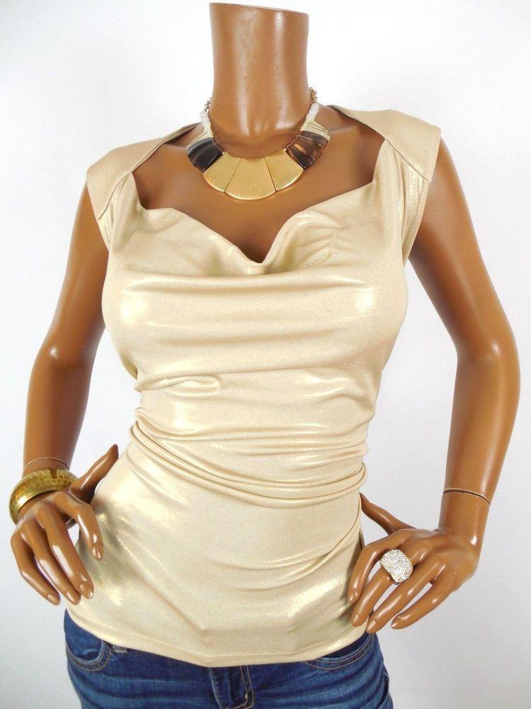 c7c7c69e777 MICHAEL KORS Womens Top 1X Plus Size Stretch Shirt Sleeveless Blouse Gold  Summer  MichaelKors  Blouse  Casual