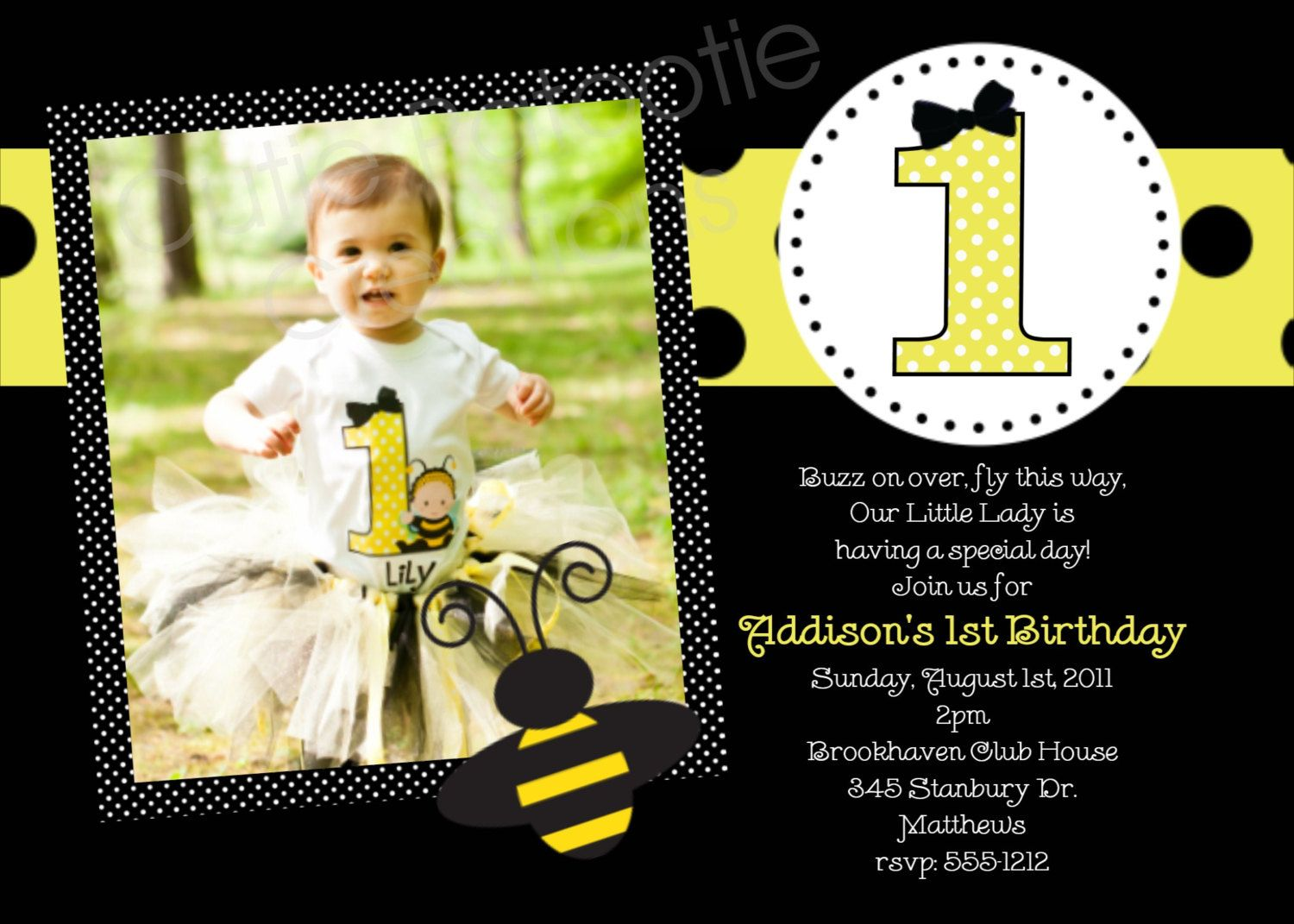 Bumble bee birthday party invitations printable or printed bumble bee birthday invitation bumble bee by cutiestiedyeboutique filmwisefo Images