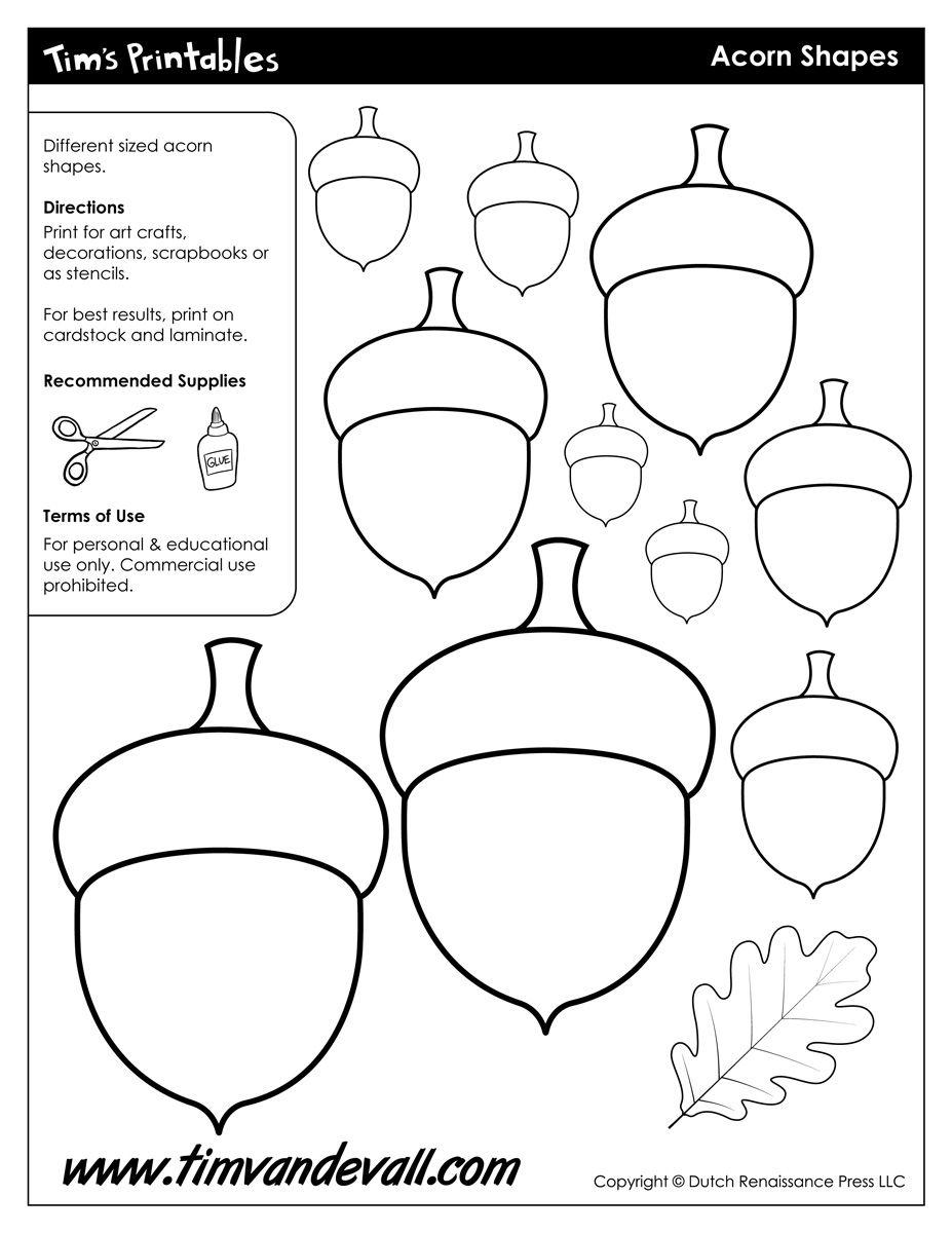 Acorn Templates Acorn Shapes Tim S Printables Flag Template Templates Printable Free Leaf Coloring Page