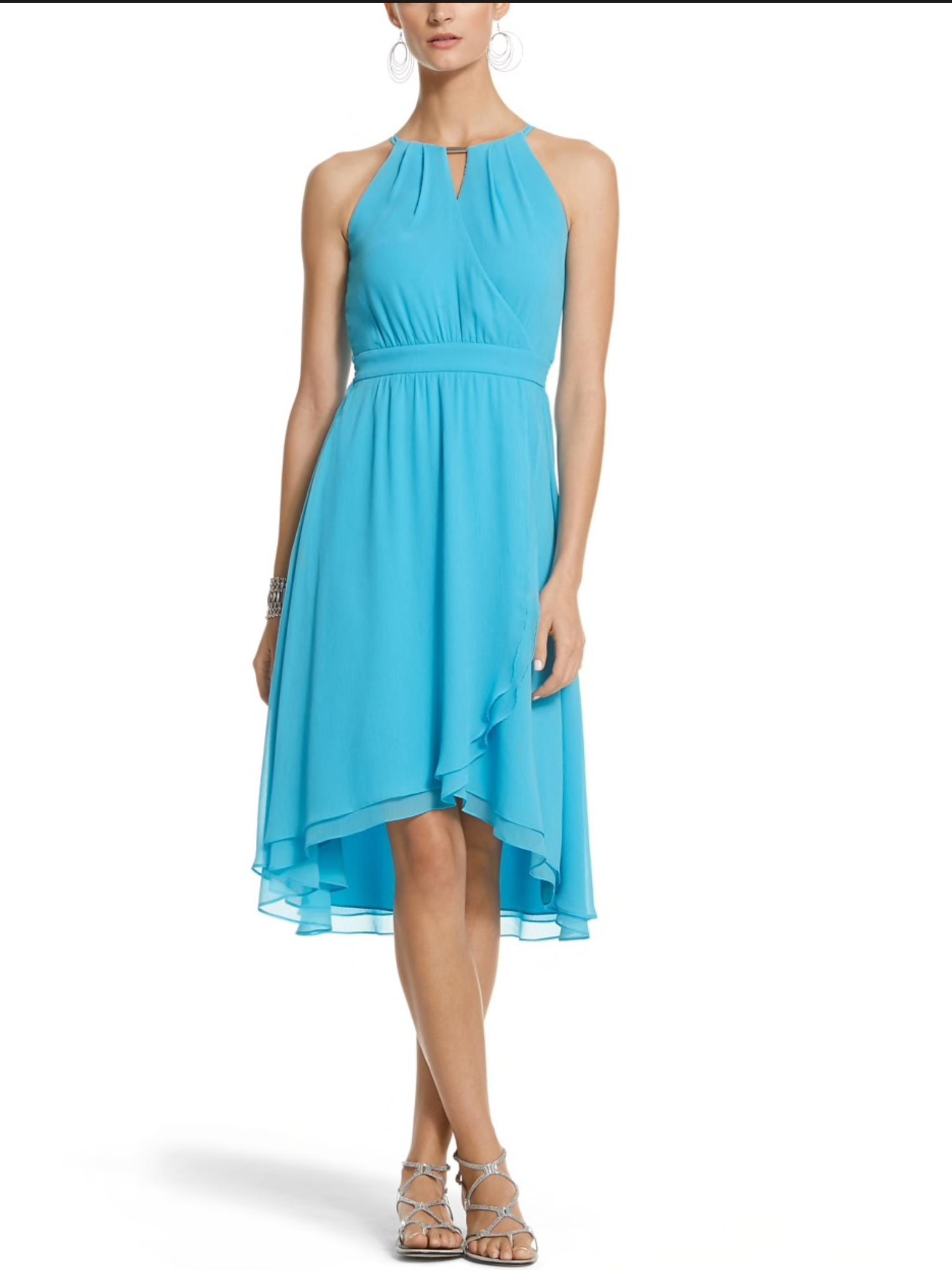 White House Black Market size 4 chiffon fit & flare high-low dress ...