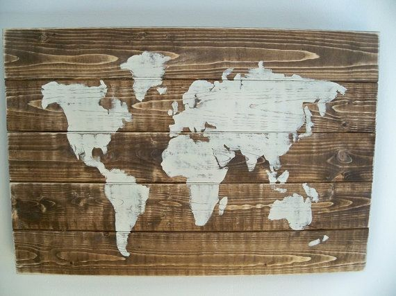 World map wood wall hanging on dark walnut stain 255 x 175 items similar to world map wood wall hanging on dark walnut stain 255 x 175 on etsy gumiabroncs Image collections