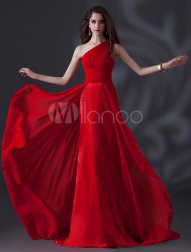 35594a3253 Vestido de damas de honor de chifón rojo de un solo hombro - Milanoo.com