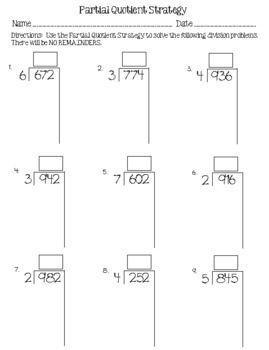Partial Quotients Division Practice and Quiz by Heather Fischer | TpT