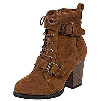 56ee529e25944 Chaussure Mode Bottine Chelsea Boots Femme Noeud Lacets Talon Bloc 3 cm -  Intérieur Fourrée
