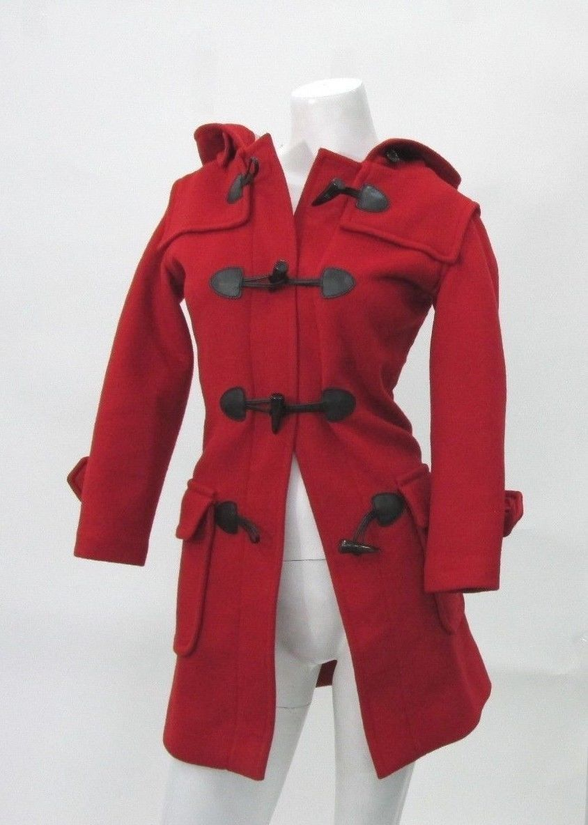 Burberry Brit Minstead Duffle Coat in Red Size 8 100 Wool Made in ...