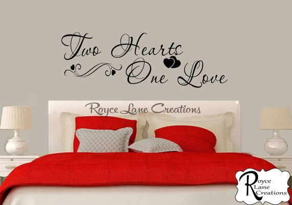 Merveilleux Bedroom Wall Decal  Two Hearts One Love Bedroom Decal  Bedroom Decor   Master Bedroom
