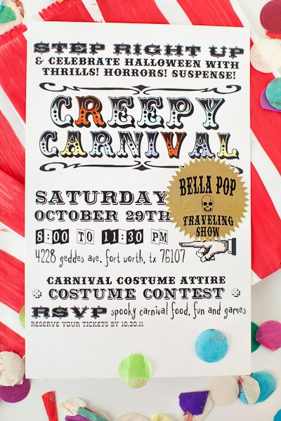 photograph about Halloween Invites Printable identified as Do it yourself Creepy Carnival Halloween invitations + no cost printable