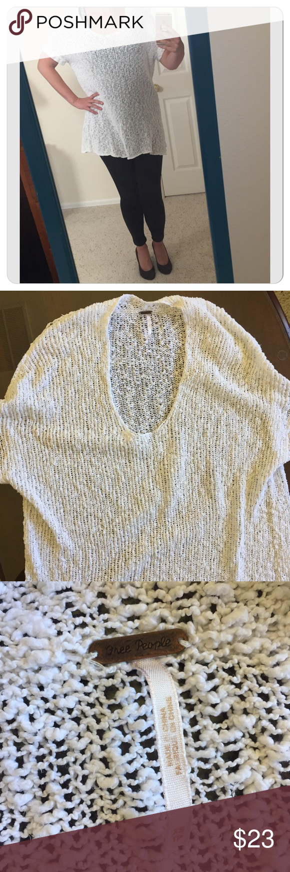 """Free people loose sweater. Fancy Free People loose oversized knit sweater. 90% cotton, 10% nylon. Size XS, but fits size S and M.  • Chest (pit to pit) 23"""" • Sleeve hem (lying flat) 6 1/2"""" (picture 8) • Length about 30"""" In very good condition. Free People Sweaters Crew & Scoop Necks"""