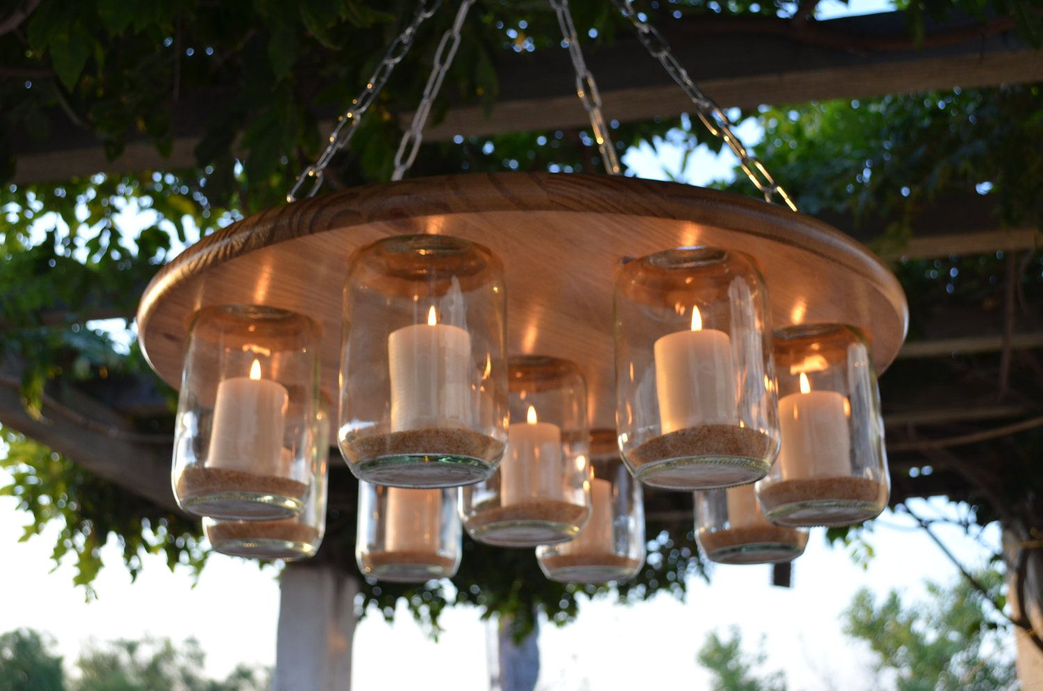 Mason Jar Chandelier, Wedding, Patio Decor, Rustic Decor, Candle  Chandelier. $189.95