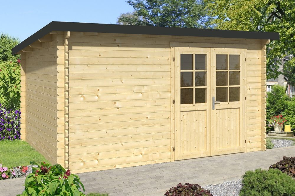 Gartenhaus Evolution 4,1x3,2 m Holz Trapezblech Gerätehaus