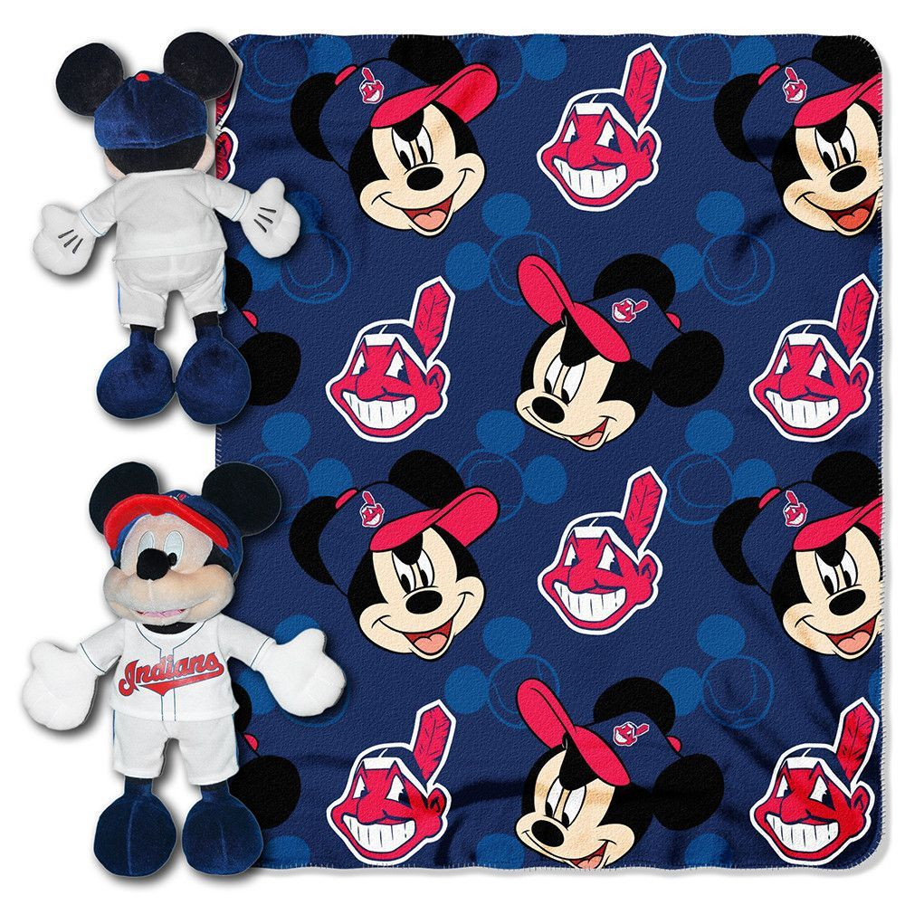 Cleveland Indians Mlb Mickey Mouse With Throw Combo Indian Disney Mickey Mouse Disney Mickey Mouse