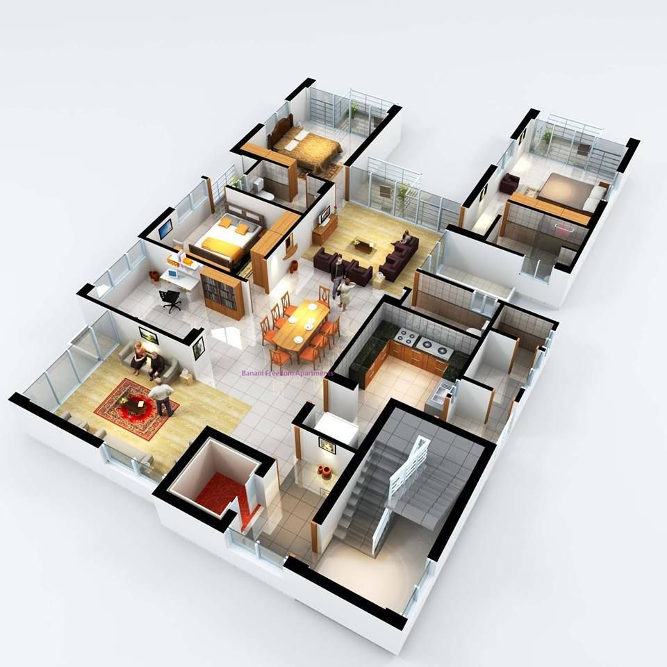 3d 3 bedroom house plans - 3 Bedroom Suite 3d House Plansplan