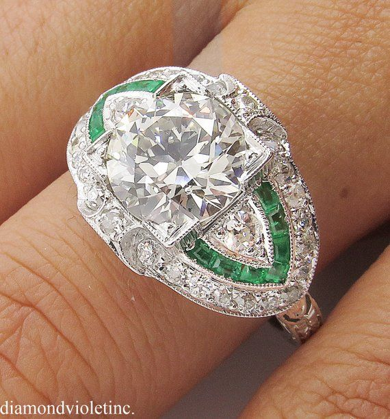 1963dd676 GIA 3.10ct Estate Vintage Old European Diamond Green Emerald Engagement  Wedding Platinum Ring