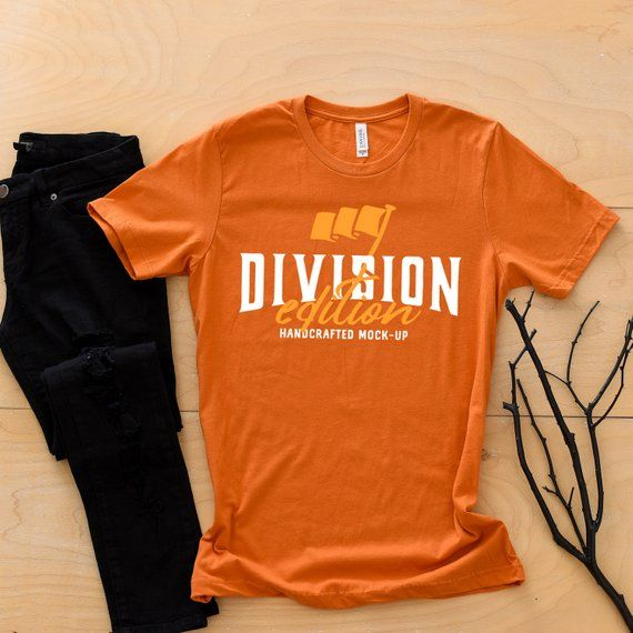 8f73bba503df1f Shirt mockup - Bella + Canvas - 3001 Burnt Orange mockup - flat lay -  photography