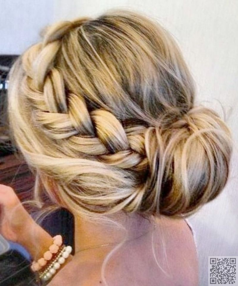 Side Braid Bun Braided Hairstyles Updo Medium Hair Styles Thick Hair Styles