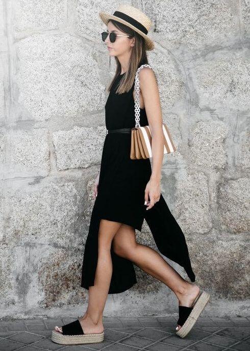 57d0bd4b40d5b sandália verão look verao vestido preto fenda sandalia salto palha  plataforma