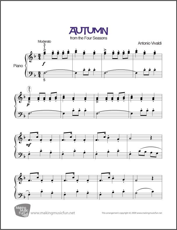 Autumn Four Seasons Easy Piano Sheet Music Digital Print