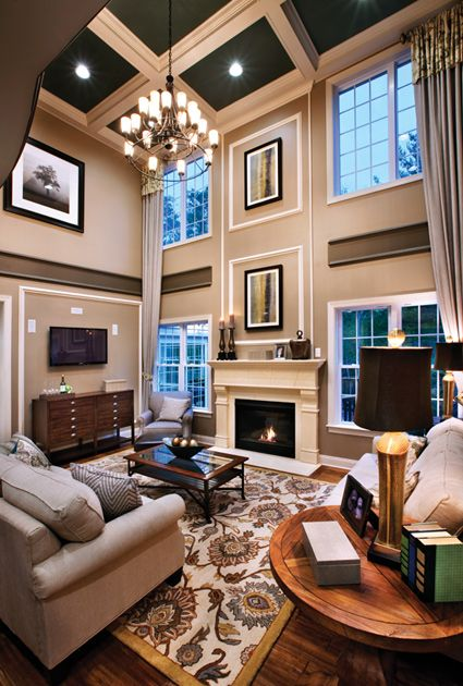 Love The Ceiling Color Love The Framed Out Sections Of The Wall And Division To Help Break U High Ceiling Living Room Family Room Design Living Room Ceiling