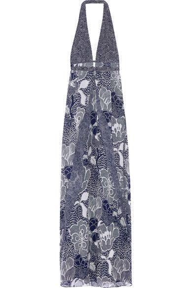 DIANE VON FURSTENBERG Fantasia Printed Silk-Chiffon Gown. #dianevonfurstenberg #cloth #dresses