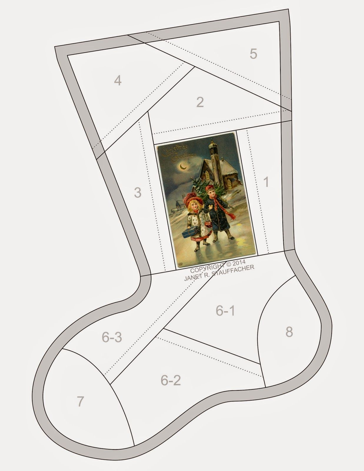 Christmas Greetings Crazy Quilt Stocking from Vintage Vogue | Kunst ...