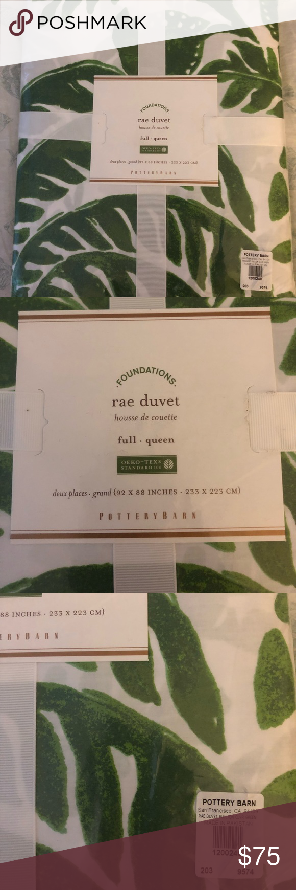 NWT Pottery Barn duvet, full/queen, jungle pattern NWT Pottery Barn Rae duvet in full/queen. Jungle leaf pattern of clover green on white background. Never removed from packaging. 100% cotton. Bundle with matching shams and save 10%. Pottery Barn Bedding Duvet Covers #junglepattern