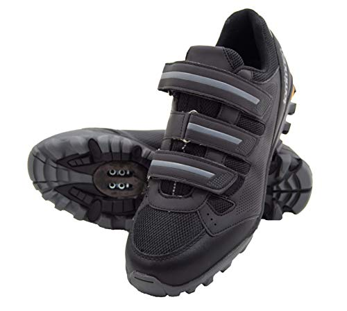 Tommaso Montagna Elite Mens Mountain MTB Spin Cycling Shoe with Quick Lace Compatible with SPD Cleats Black