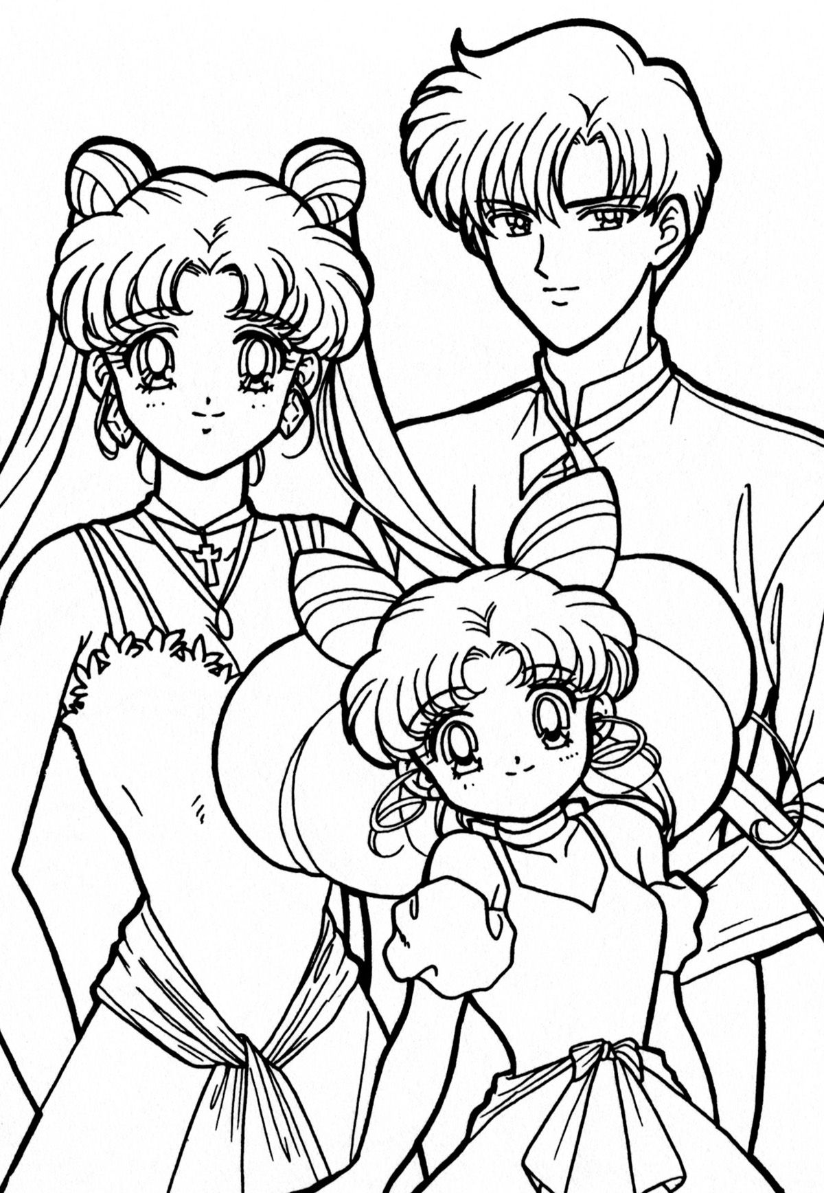 usagi mamoru and chibiusa coloring page sailormoon