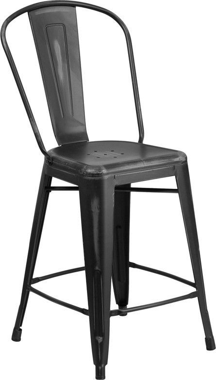 Marias Vintage Black Metal Counter Stool 24 Inch Cain Orthodontics