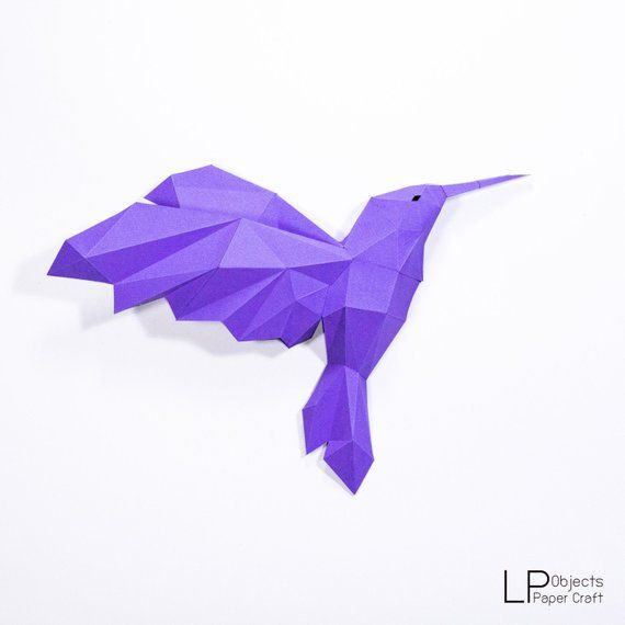 Hummingbird Paper Craft Digital Template Origami Pdf Download Diy Low Poly Wall Decor Wall Art Paper Crafts Paper Sculpture Paper Crafts Diy