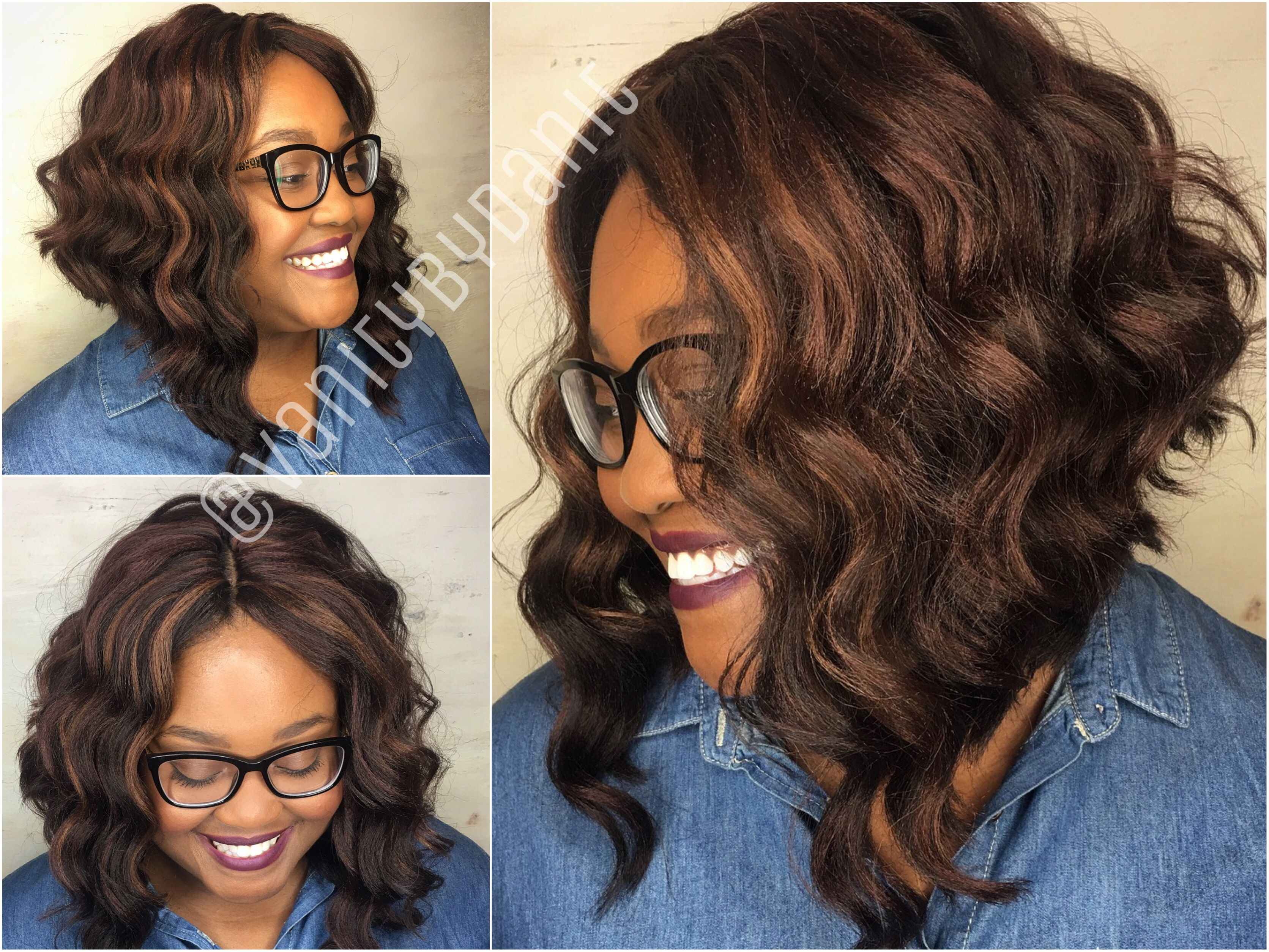 Crochet braids bob with loose wavy hair Knotless middle part and