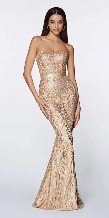 Cinderella Divine J0235 Evening Dress Prom Dress Fully beaded sequin keyhole