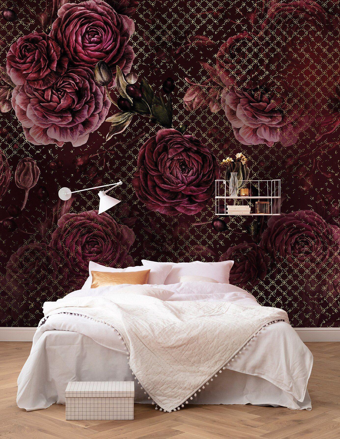 Mural Rouge Intense 3 5m X 2 8m Bedroom Wallpaper Accent Wall Wall Wallpaper Wallpaper Accent Wall