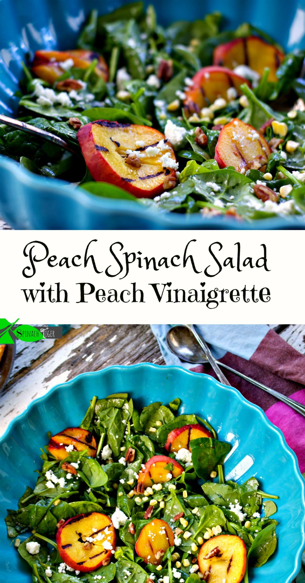 Peach spinach salad with peach vinaigrette from spinach tiger grilled peaches fresh corn goat cheese and a peach vinaigrette add flavors and texture to this wonderful summer peach spinach salad malvernweather Images