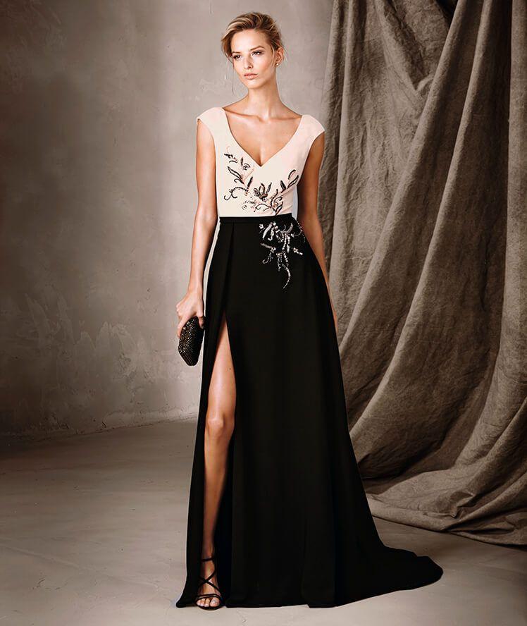 c905e7fc8 CELESTE - Vestido bicolor longo e decote em V Pronovias Vestidos Compridos,  Roupas Elegantes,