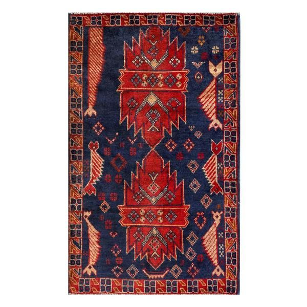 Herat Oriental Semi Antique Afghan Hand Knotted Tribal Balouchi Navy Red Wool Rug