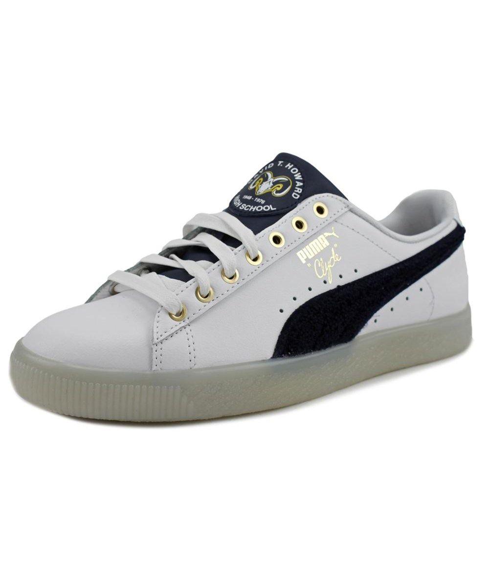 Puma Clyde Lthr Bhm Men Round Toe Leather White Sneakers White