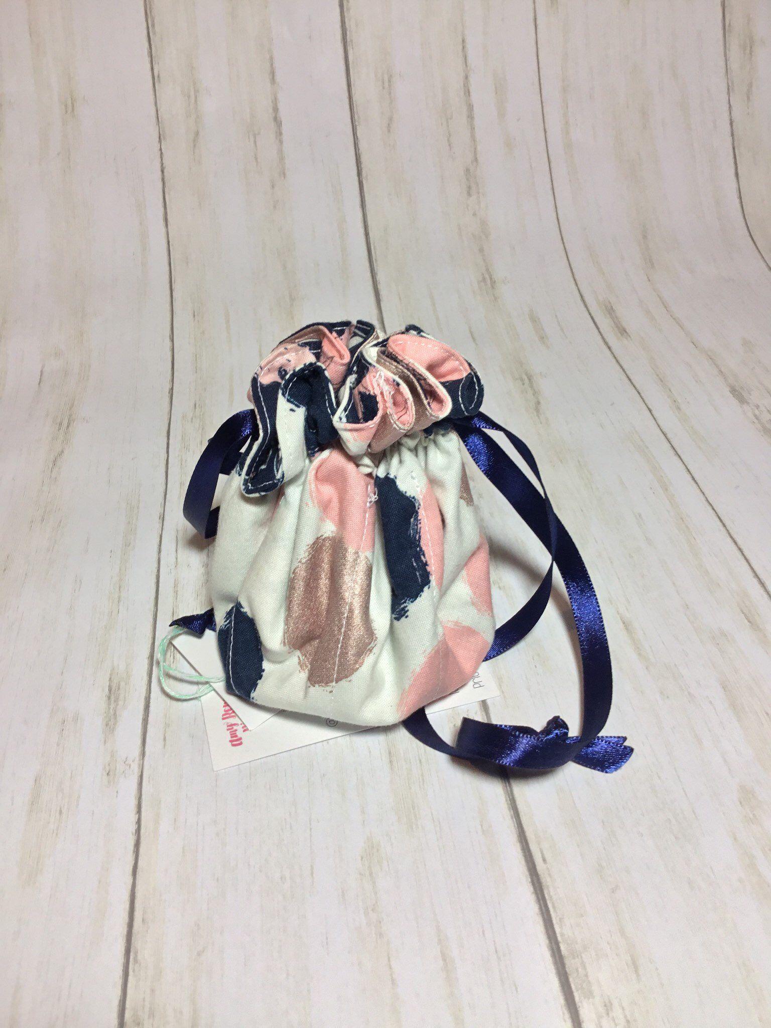 Jewelry Pouch Travel Jewelry Bag Satin Ribbon Drawstring Handmade