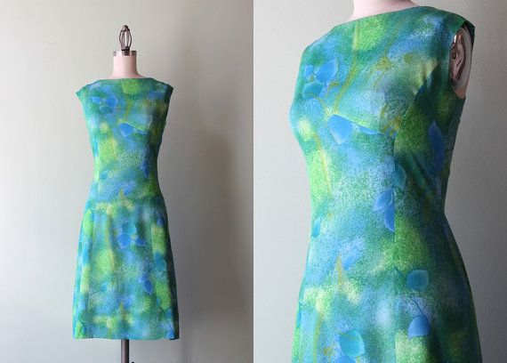 60s dress / vintage 1960s painterly print shift by HolliePoint, $52.00