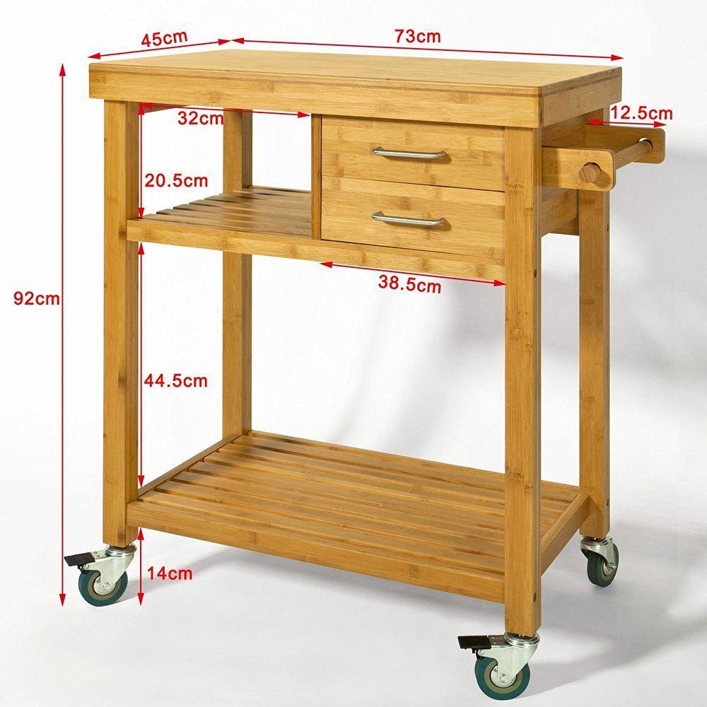 sobuy servierwagen k chenwagen rollwagen m schublade handtuchhalter aus bambus fkw26 n. Black Bedroom Furniture Sets. Home Design Ideas