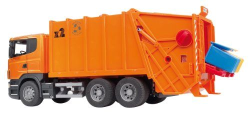 Bruder Scania R Series Garbage Truck Orange It S Time To Take Out The Trash With The Scania Rear Loading Garbage Truck This Amazing True To Life Trucks Come