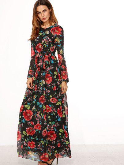 Self-Tie Rose Imprimir manga larga vestido de gasa - Negro | Moda ...