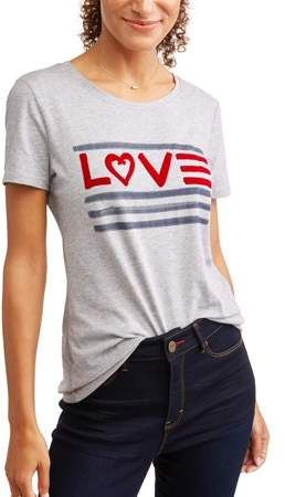 04242bbf5 EV1 from Ellen DeGeneres Women's Love Flag Crew Neck Tee (Heather Grey)
