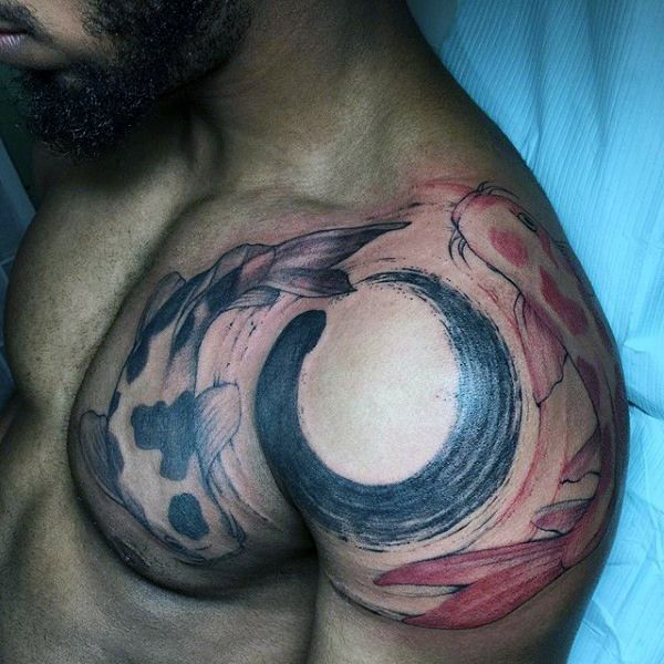 Koi Fish Paint Brush Stroke Mens Enso Tattoo Designs