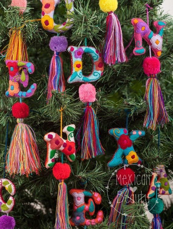 Mexican Felt Hearts Hand Embroidered Felt Hearts Wedding Favors Nursery Decor Diy Christmas Ornaments Letter Ornaments Christmas Ornaments