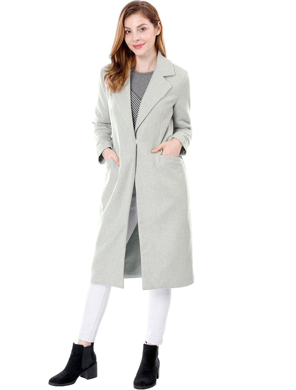 Women S Notched Lapel One Button Winter Long Coat Gray C0187l6k2m2 Long Winter Coats Womens Black Coat Clothes For Women