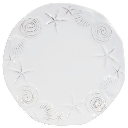 "Authentic Sea Life Stoneware Pottery White Dinner Plate 10""D Set / 2, ,"