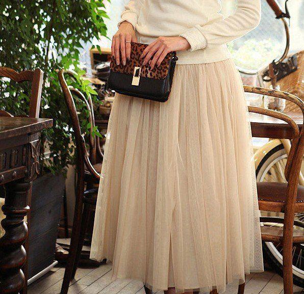 Tulle Midi Skirt  #Handmade #ALine